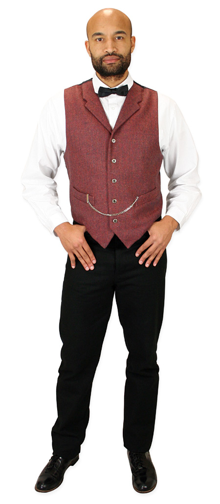 Steampunk Mens Red,Blue Herringbone Notch Collar Dress Vest | Gothic | Pirate | LARP | Cosplay | Retro | Vampire || Devlin Vest - Rust and Navy