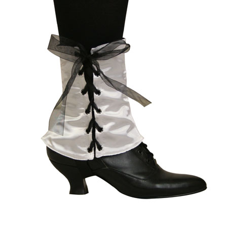Steampunk Ladies White Solid Spats | Gothic | Pirate | LARP | Cosplay | Retro | Vampire || Ladies Spats - White Satin (One Pair)