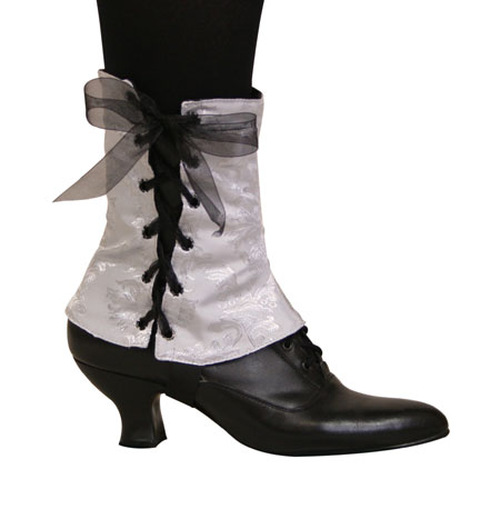 Steampunk Ladies Silver,Gray Spats | Gothic | Pirate | LARP | Cosplay | Retro | Vampire || Ladies Spats - Silver Brocade (One Pair)