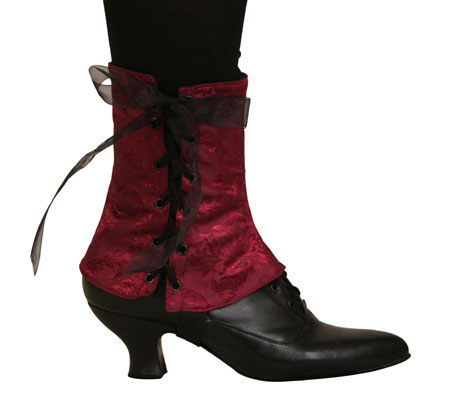 1800s Ladies Burgundy,Red Spats | 19th Century | Historical | Period Clothing | Theatrical || Ladies Spats - Burgundy Brocade (One Pair)