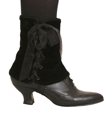 Vintage Ladies Black Solid Spats | Romantic | Old Fashioned | Traditional | Classic || Ladies Spats - Black Velvet (One Pair)