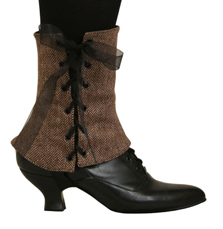 Victorian Ladies Brown Tweed,Wool Blend Herringbone Spats | Dickens | Downton Abbey | Edwardian || Ladies Spats - Brown Tweed (One Pair)