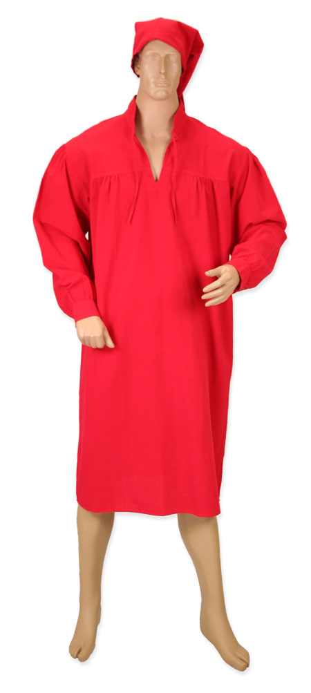 Victorian Mens Red Cotton Solid Band Collar Nightshirt   Dickens   Downton Abbey   Edwardian    Mens Nightshirt and Night Cap - Red