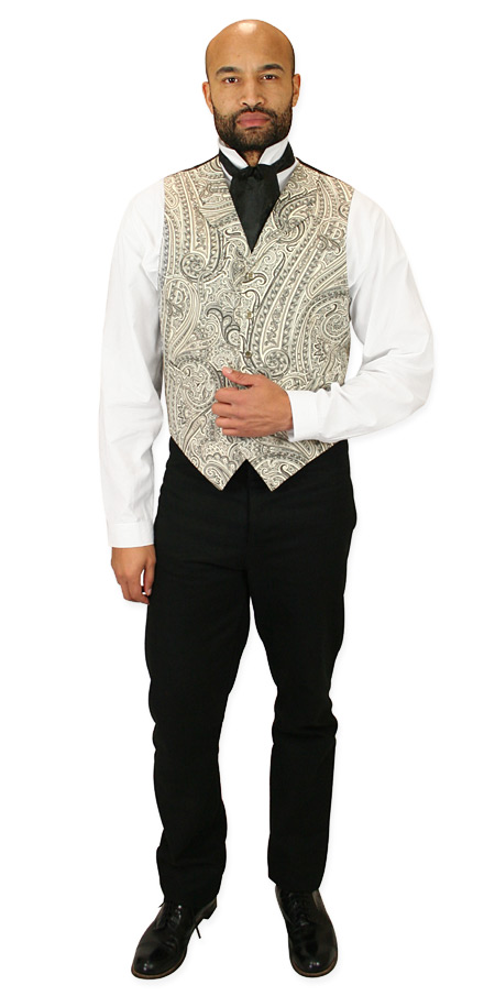 Steampunk Mens Black,Gray,White,Ivory Cotton Paisley Notch Collar Dress Vest | Gothic | Pirate | LARP | Cosplay | Retro | Vampire || Vickers Vest - Black and White Paisley