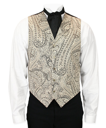 Vickers Vest - Black and White Paisley