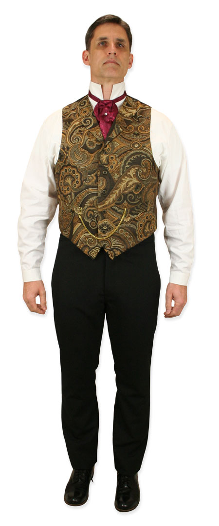 Steampunk Mens Brown,Gold Paisely Notch Collar Dress Vest | Gothic | Pirate | LARP | Cosplay | Retro | Vampire || Chauncey Tapestry Waistcoat