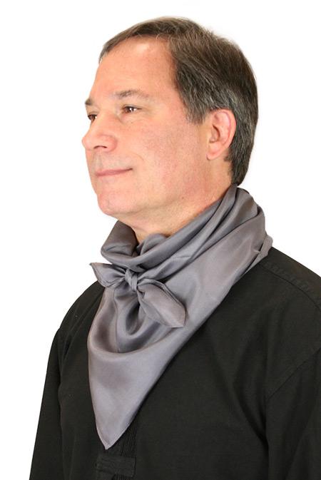 1800s Mens Gray Silk Solid Neckerchief   19th Century   Historical   Period Clothing   Theatrical    Premium Silk Neckerchief - Charcoal