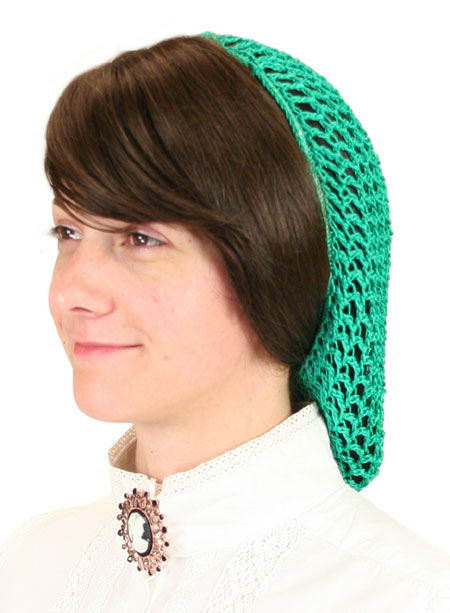 Steampunk Ladies Green Hair Net | Gothic | Pirate | LARP | Cosplay | Retro | Vampire || Hair Net - Jade Green