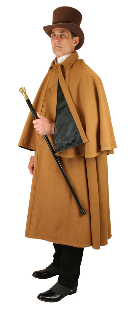 Wedding Mens Brown Wool Solid Covered Cloak | Formal | Bridal | Prom | Tuxedo || Inverness Cape - 100% Wool - Caramel