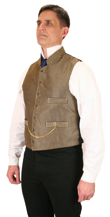 Vintage Mens Gold,Blue Stripe Stand Collar Dress Vest | Romantic | Old Fashioned | Traditional | Classic || Wallace Striped Vest