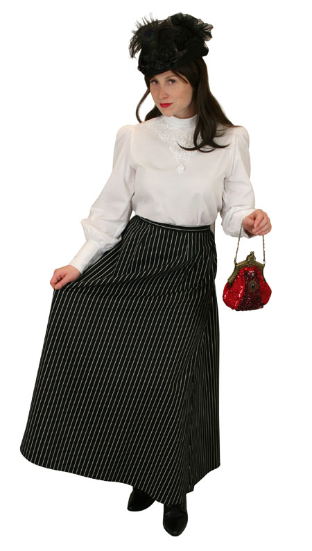 Victorian Ladies Black Cotton Stripe Dress Skirt | Dickens | Downton Abbey | Edwardian || Henderson Walking Skirt