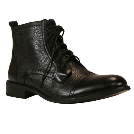 1800s Mens Black Faux Leather Boots | 19th Century | Historical | Period Clothing | Theatrical || Parker Boot - Black Faux Leather
