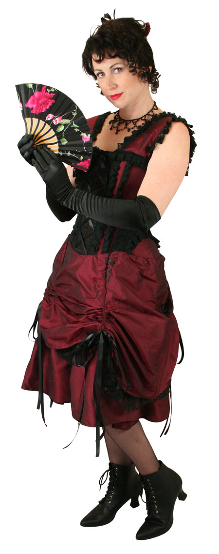Vintage Ladies Burgundy,Red Solid Dress | Romantic | Old Fashioned | Traditional | Classic || Antoinette Dress - Burgundy Taffeta