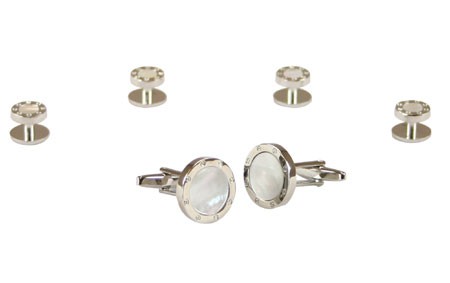 Wedding Mens Silver Alloy,Enamel Studs and Cufflink | Formal | Bridal | Prom | Tuxedo || Ringed Mother of Pearl Cufflink and Stud Set - Silver