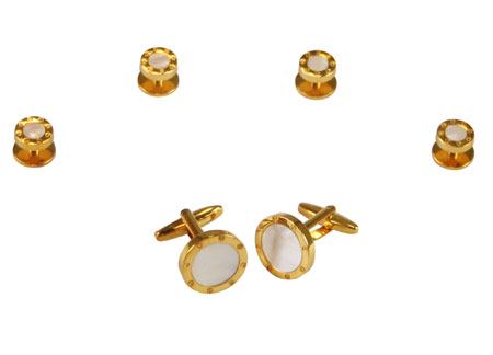 Victorian Mens Gold Alloy,Enamel Studs and Cufflink | Dickens | Downton Abbey | Edwardian || Ringed Mother of Pearl Cufflink and Stud Set - Gold