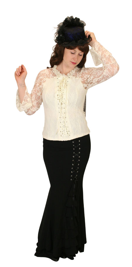 1800s Ladies Ivory Lace Band Collar Blouse | 19th Century | Historical | Period Clothing | Theatrical || Roxie Lace Top - Cream