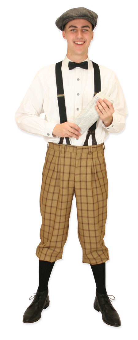 Victorian Mens Tan,Brown Plaid Knicker | Dickens | Downton Abbey | Edwardian || Harvey Knickers - Beige Plaid