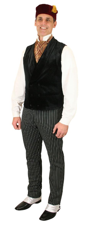 Steampunk Mens Black Solid Shawl Collar Dress Vest | Gothic | Pirate | LARP | Cosplay | Retro | Vampire || Thornton Vest - Black Velvet