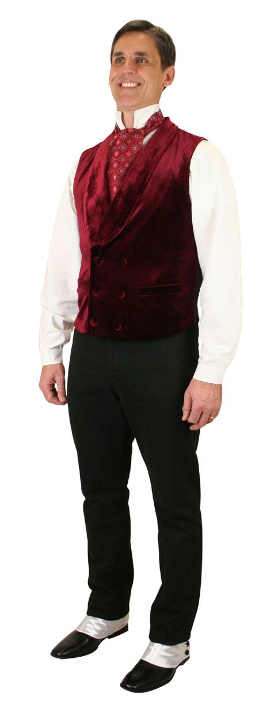 Steampunk Mens Burgundy,Red Solid Shawl Collar Dress Vest | Gothic | Pirate | LARP | Cosplay | Retro | Vampire || Thornton Vest - Burgundy Velvet