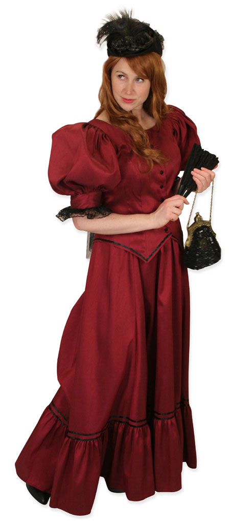 Vintage Ladies Burgundy,Red Solid Dress | Romantic | Old Fashioned | Traditional | Classic || Antique Satin Day Suit - Burgundy