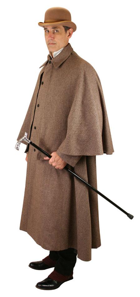 Victorian Mens Brown Herringbone Point Collar Cloak | Dickens | Downton Abbey | Edwardian || Inverness Coat - Brown Herringbone Tweed