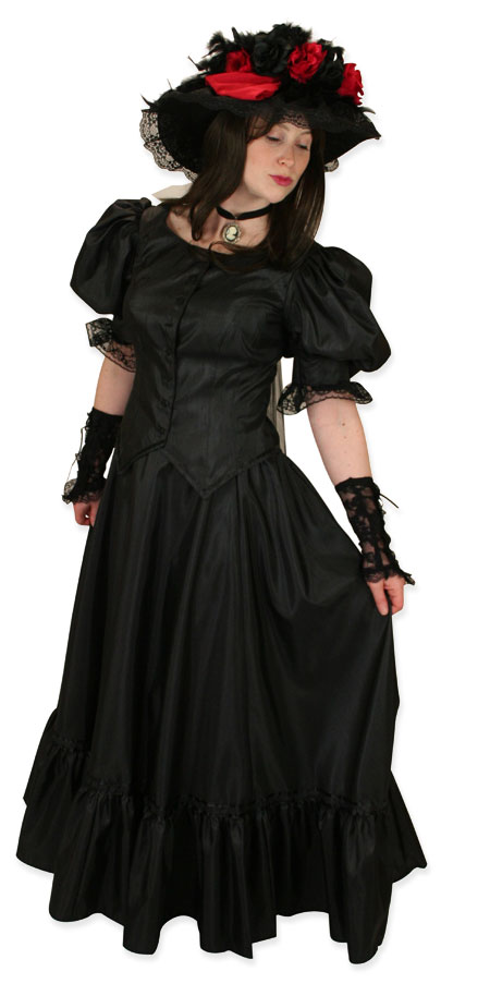 Victorian Ladies Black Solid Dress | Dickens | Downton Abbey | Edwardian || Antique Satin Day Suit - Black