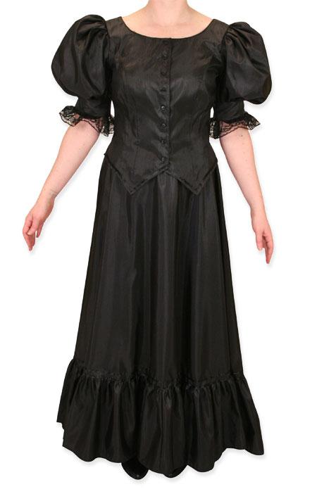Antique Satin Day Suit - Black