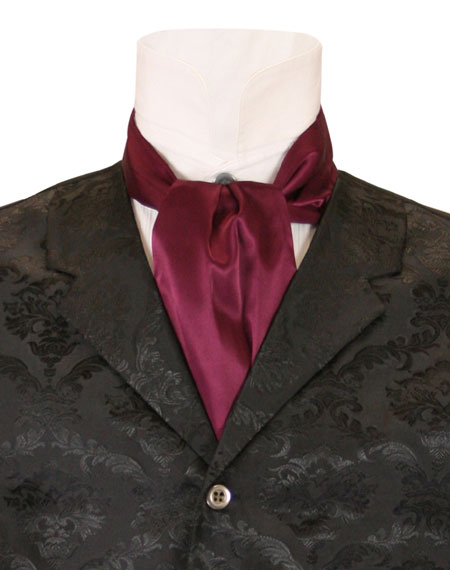 Victorian Mens Burgundy,Red Solid Ascot | Dickens | Downton Abbey | Edwardian || Lustrous Ascot - Burgundy