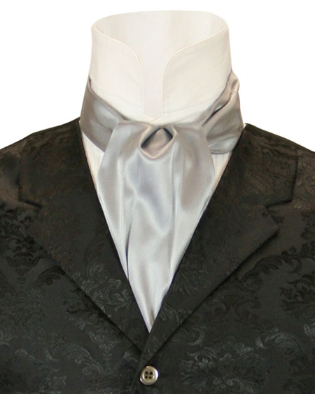 Steampunk Mens Silver,Gray Solid Ascot | Gothic | Pirate | LARP | Cosplay | Retro | Vampire || Lustrous Ascot - Silver