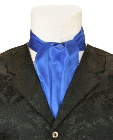 Steampunk Mens Blue Solid Ascot | Gothic | Pirate | LARP | Cosplay | Retro | Vampire || Lustrous Ascot - Royal Blue
