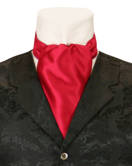 1800s Mens Red Solid Ascot   19th Century   Historical   Period Clothing   Theatrical    Lustrous Ascot - Red