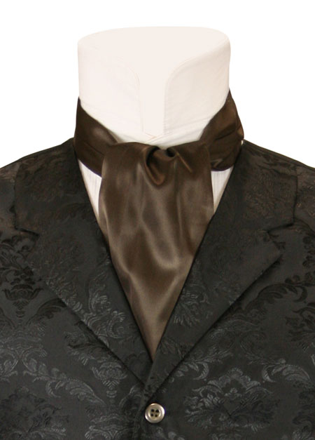 Vintage Mens Brown Solid Ascot | Romantic | Old Fashioned | Traditional | Classic || Lustrous Ascot - Brown