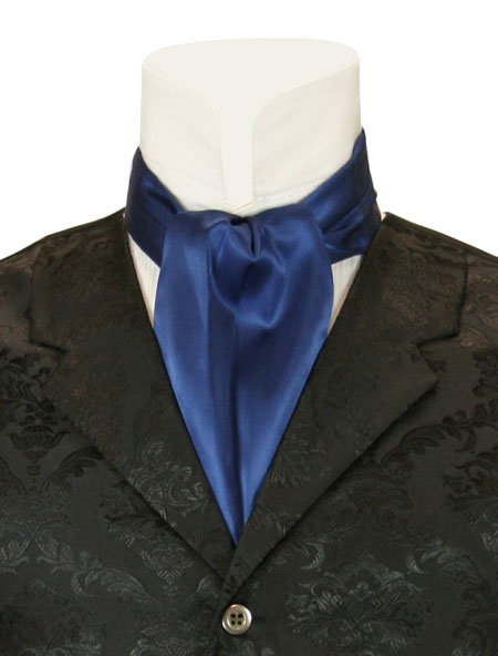 Vintage Mens Blue Solid Ascot | Romantic | Old Fashioned | Traditional | Classic || Lustrous Ascot - Navy