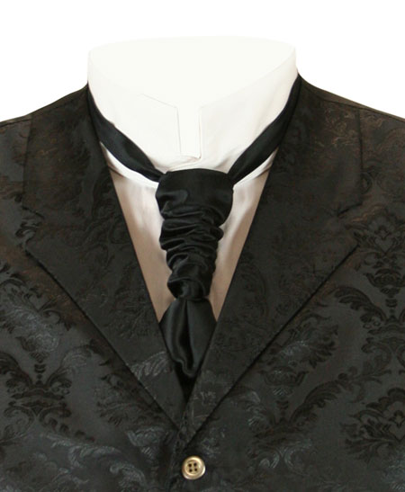 Vintage Mens Black Solid Cravat | Romantic | Old Fashioned | Traditional | Classic || Scrunchy Cravat - Black