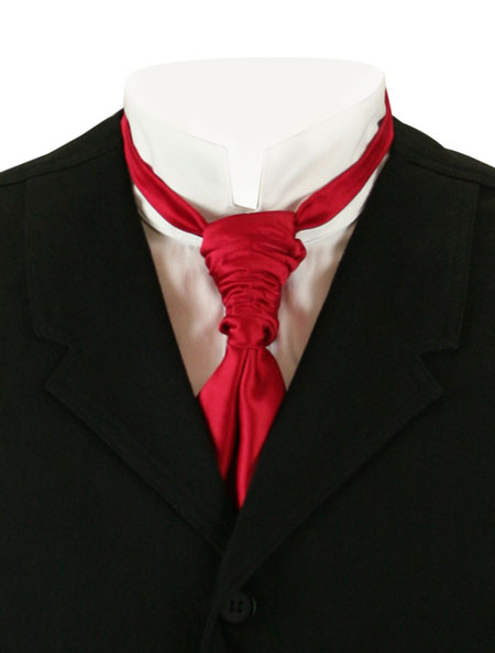 Vintage Mens Red Solid Cravat | Romantic | Old Fashioned | Traditional | Classic || Scrunchy Cravat - Red
