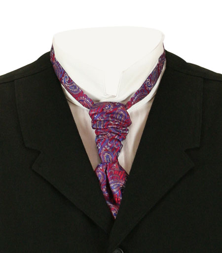 Victorian Mens Red Paisley Cravat | Dickens | Downton Abbey | Edwardian || Scrunchy Cravat - Red Paisley