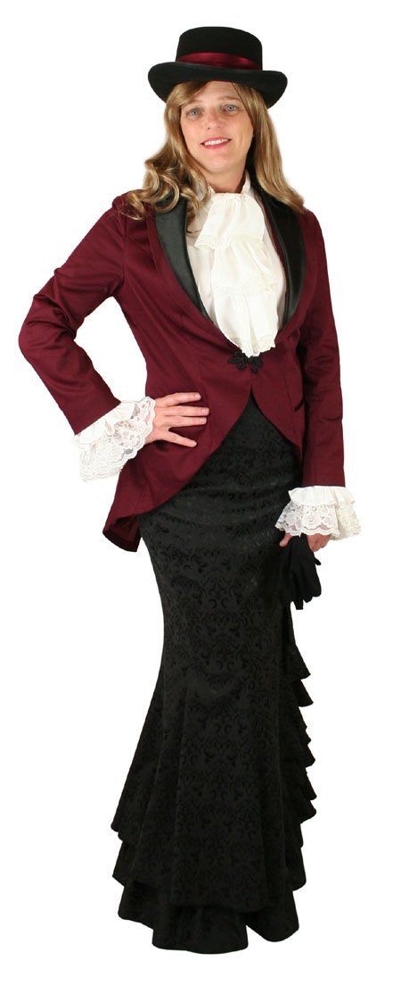 Wedding Ladies Burgundy,Red Cotton Blend Shawl Collar Cutaway Coat | Formal | Bridal | Prom | Tuxedo || Calliope Tailcoat - Burgundy