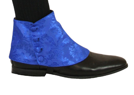 Steampunk Mens Blue Spats | Gothic | Pirate | LARP | Cosplay | Retro | Vampire || Premium Mens Button Spats - Blue Tahoe Jacquard (One Pair)