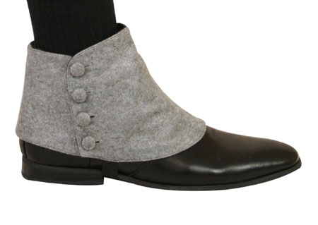 1800s Mens Gray Spats | 19th Century | Historical | Period Clothing | Theatrical || Premium Mens Button Spats - Dove Gray (One Pair)