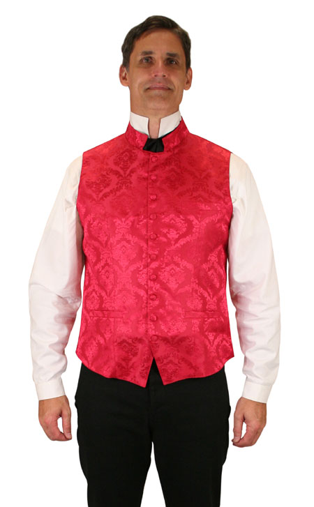 Vintage Mens Red Floral Stand Collar Dress Vest   Romantic   Old Fashioned   Traditional   Classic    Vaughan Waistcoat - Red