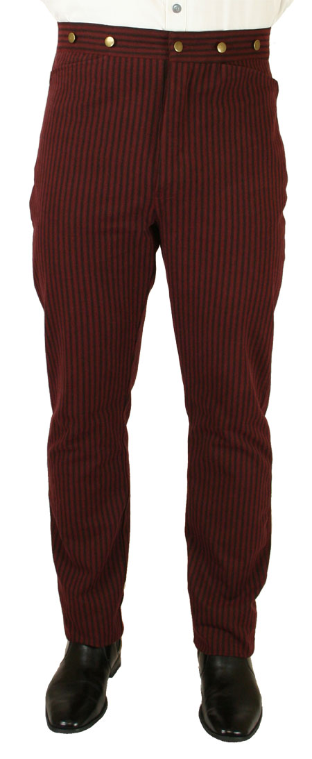 Steampunk Mens Burgundy,Red Cotton Stripe Dress Pants | Gothic | Pirate | LARP | Cosplay | Retro | Vampire || Jennings Striped Trousers