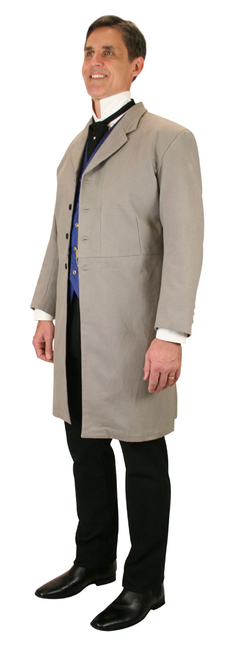 1800s Mens Gray Cotton Solid Notch Collar Frock Coat | 19th Century | Historical | Period Clothing | Theatrical || Dorian Brushed Cotton Frock Coat - Slate Gray