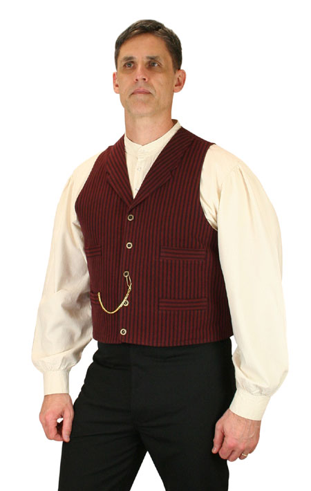 1800s Mens Burgundy,Red Cotton Stripe Notch Collar Work Vest | 19th Century | Historical | Period Clothing | Theatrical || Jennings Vest