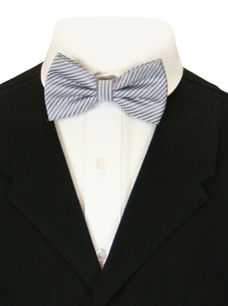 Vintage Mens Silver,Gray Stripe Bow Tie | Romantic | Old Fashioned | Traditional | Classic || Candy Striped Bow Tie - Silver