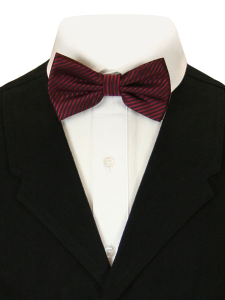 Vintage Mens Burgundy Stripe Bow Tie | Romantic | Old Fashioned | Traditional | Classic || Candy Striped Bow Tie - Burgundy