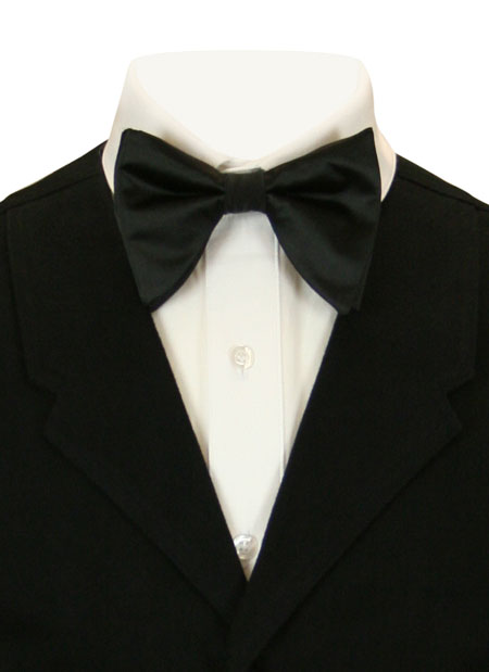 Wedding Mens Black Solid Bow Tie | Formal | Bridal | Prom | Tuxedo || Butterfly Bow Tie - Black