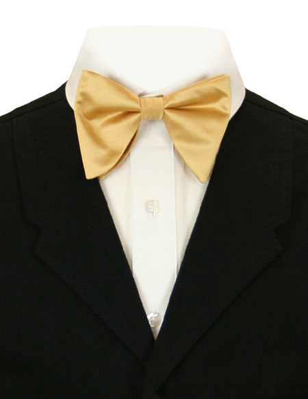 Wedding Mens Gold,Yellow Solid Bow Tie | Formal | Bridal | Prom | Tuxedo || Butterfly Bow Tie - Gold
