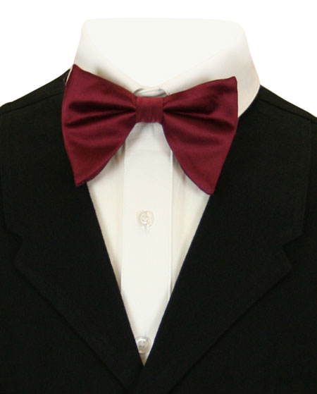 Victorian Mens Burgundy Solid Bow Tie | Dickens | Downton Abbey | Edwardian || Butterfly Bow Tie - Burgundy