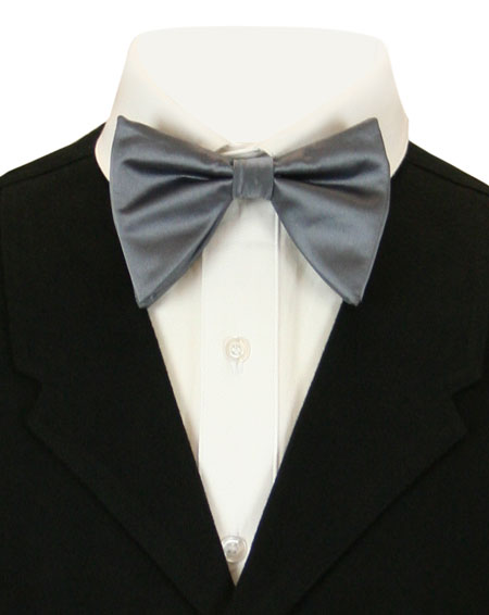 Victorian Mens Gray Solid Bow Tie | Dickens | Downton Abbey | Edwardian || Butterfly Bow Tie - Charcoal