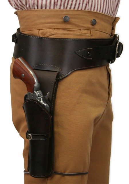 1800s Mens Brown Leather Un-Tooled Gunbelt Holster Combo | 19th Century | Historical | Period Clothing | Theatrical || (.38/.357 cal) Western Gun Belt and Holster - RH Draw - Plain Brown Leather